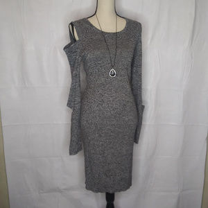 bar III Cold Shoulder heather gray knit dress